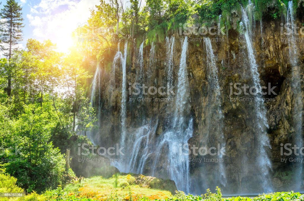 Waterfall in the Plitvice National Park. royalty-free stock photo