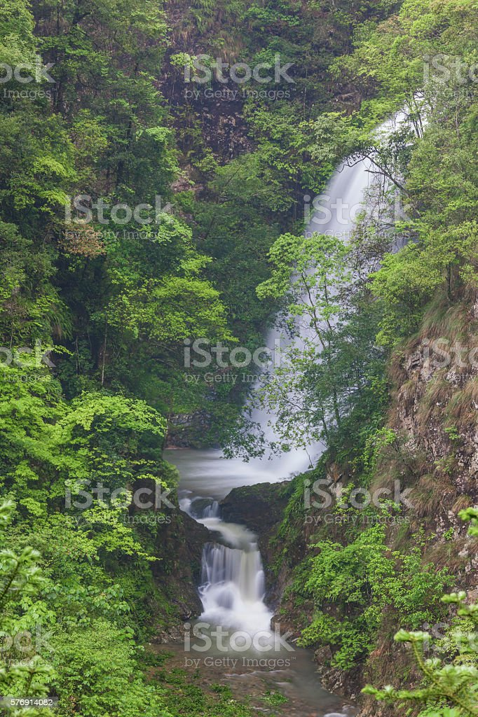 waterfall in the primeval forest,longsheng,guilin,china stock photo