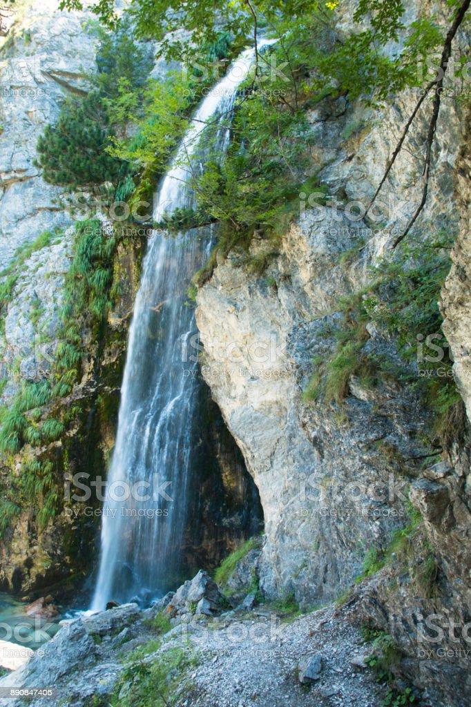 Waterfall in Theth mountains, Albania stock photo