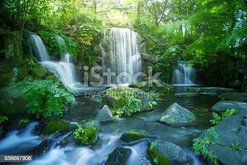 Waterfall in Tokyo, Image of an ecology, Global warming measure in the city, Holiday resort in Tokyo