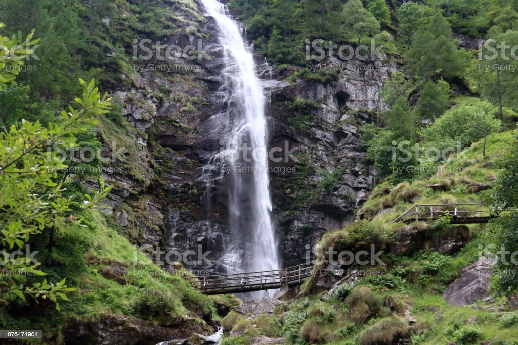 Waterfall in Verzasca Valley stock photo