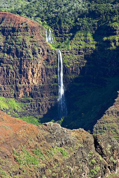 Waterfall In Waimea Canyon, Kauai, Hawaii (Vertical) stock photo