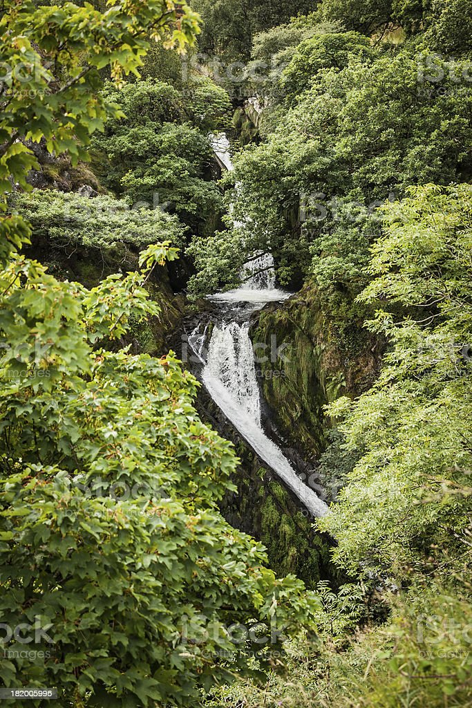 waterfall in wales royalty-free stock photo