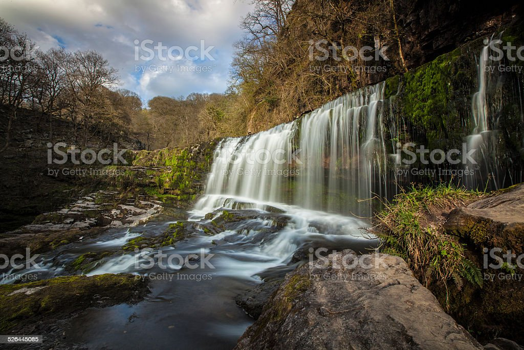 Waterfall in Wales stock photo