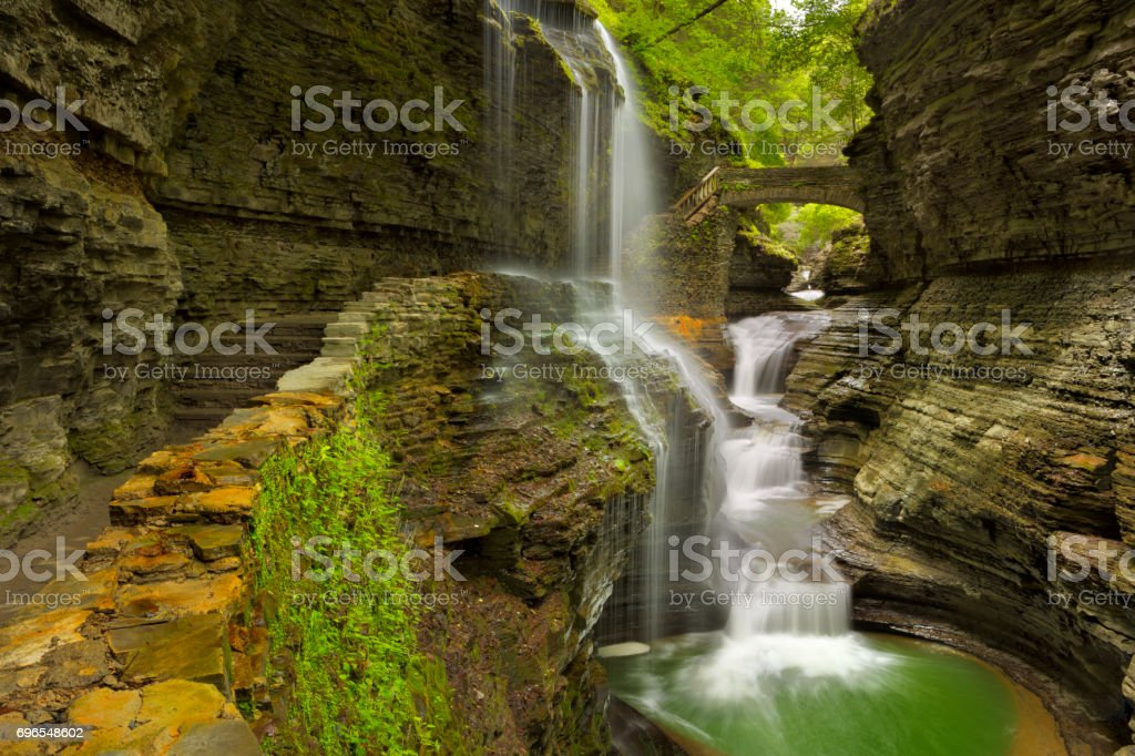Waterfall in Watkins Glen Gorge in New York state, USA stock photo
