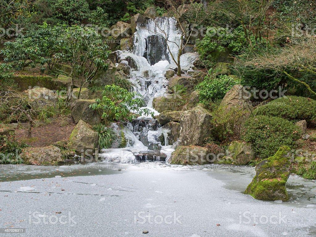 Waterfall koi pond frozen japanese garden portland oregon for Premade koi ponds