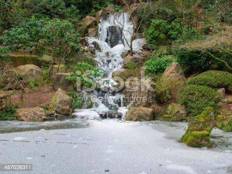 Waterfall koi pond frozen japanese garden portland oregon for Koi pond freezing