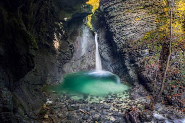 Wasserfall Kozjak am Bach Kozjak, Kobarid-Slowenien – Foto