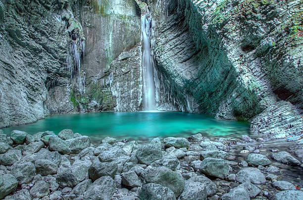 Waterfall Kozjak on stream Kozjak, Kobarid - Slovenia stock photo