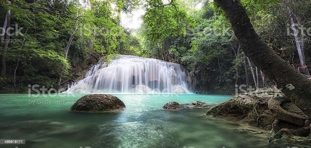 Waterfall landscape background. Beautiful nature panorama royalty-free stock photo