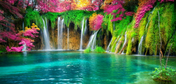 Waterfall landscape of Plitvice Lakes Croatia. stock photo