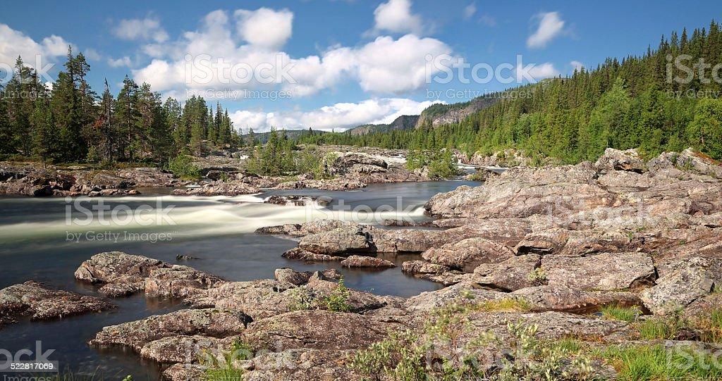 Waterfall Litsjöforsen (North Sweden near Vilhelmina) stock photo