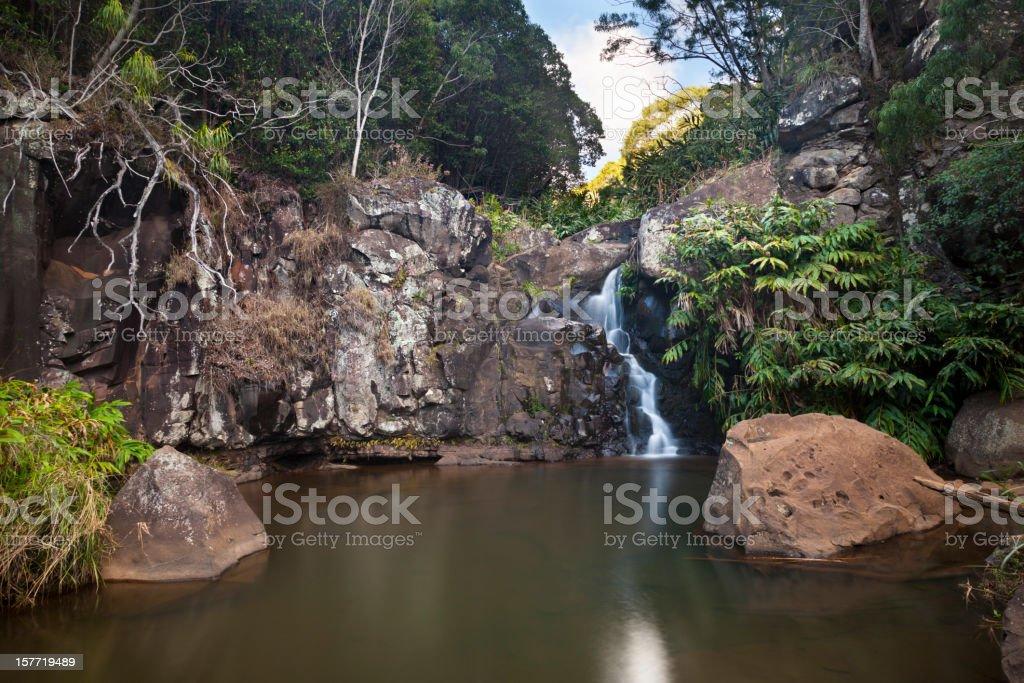 Waterfall Long Exposure, Kauai stock photo