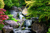 Waterfall long exposure with maple trees in Kyoto Japanese green Garden in Holland Park green summer zen lake pond water in London, UK