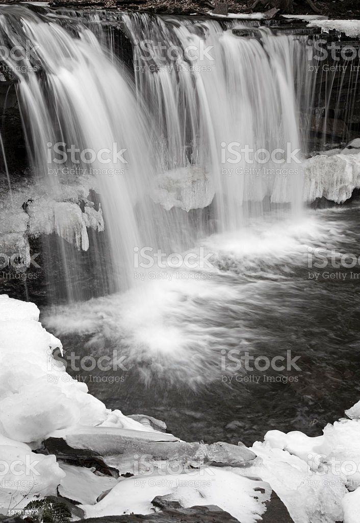 Waterfall Mid Winter Thaw Black and White Selective Color stock photo