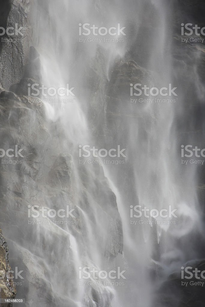 Waterfall Mist of Bridalveil Fall in Yosemite National Park stock photo