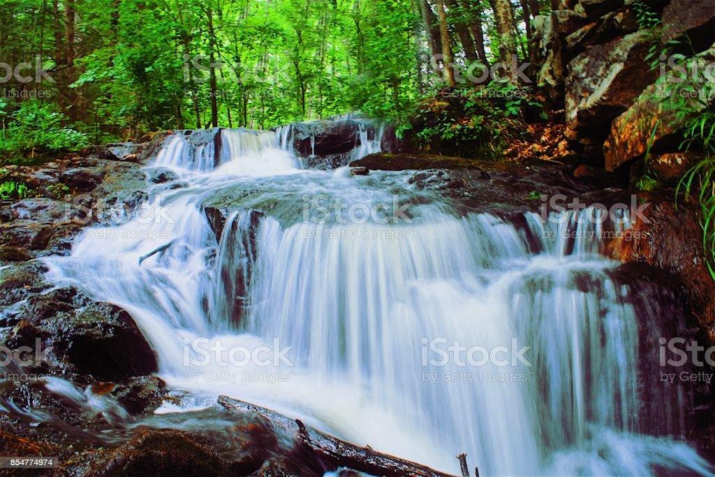 Waterfall, Nature, Trees, Rocks, Movement stock photo