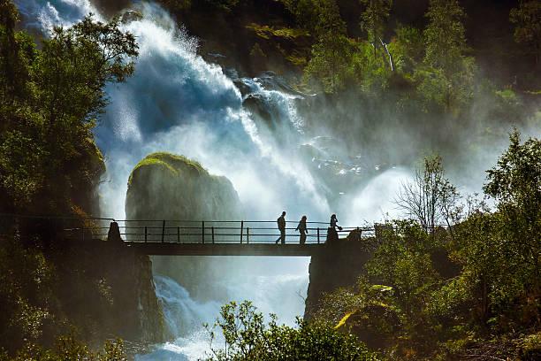 Waterfall near Briksdal glacier - Norway stock photo