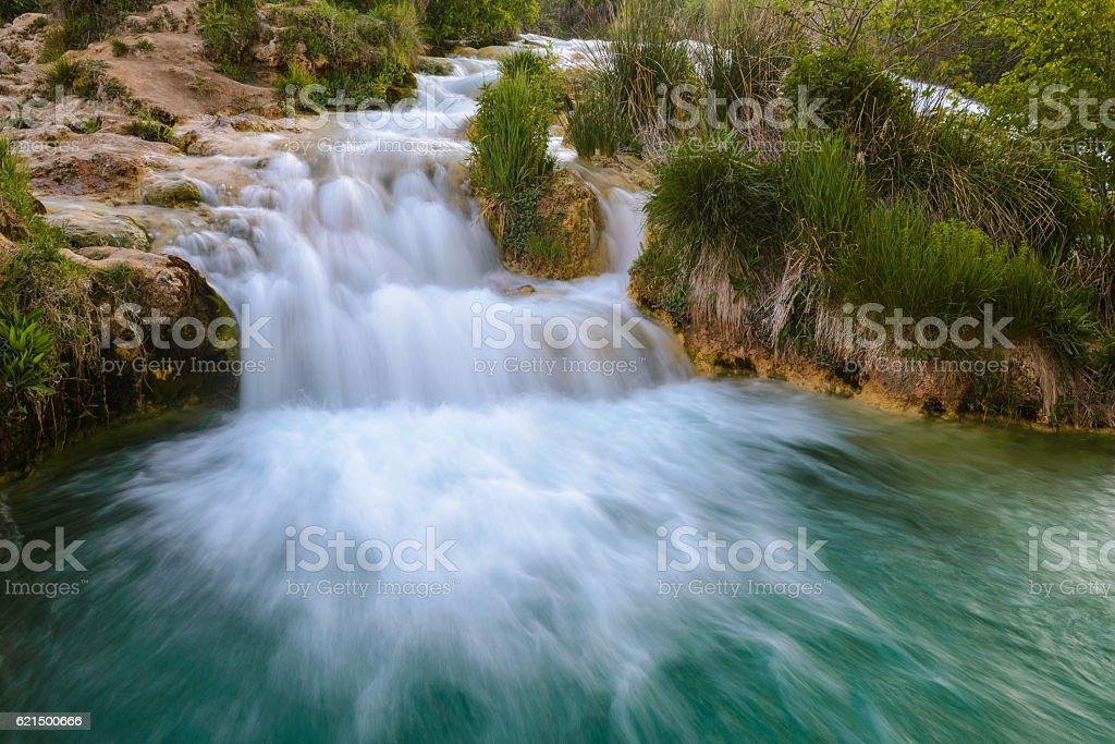 Salvadora Cascata vicino alla laguna, Ruidera Parco naturale (Spagna) foto stock royalty-free