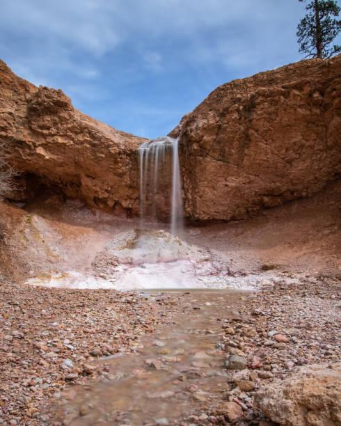 Waterfall oasis in a rocky desert landscape.