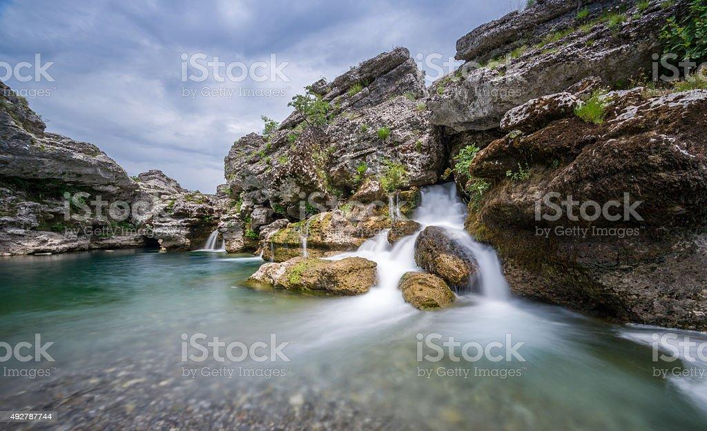 Waterfall of Cijevna river stock photo