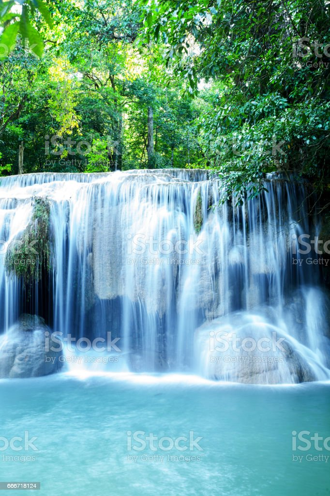 Waterfall of national park Erawan stock photo