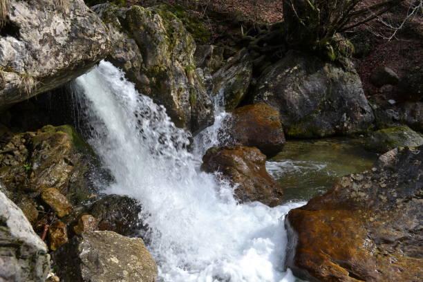 Waterfall of the mountain stream between rocks. stock photo