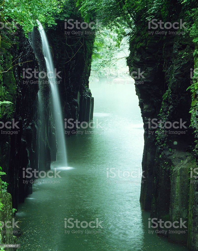 waterfall of the ravine in Japan royalty-free stock photo