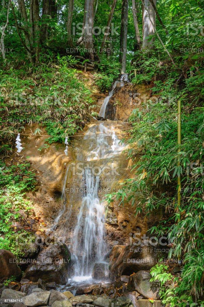 Waterfall of the Togakushi-jinja Chusha shrine stock photo
