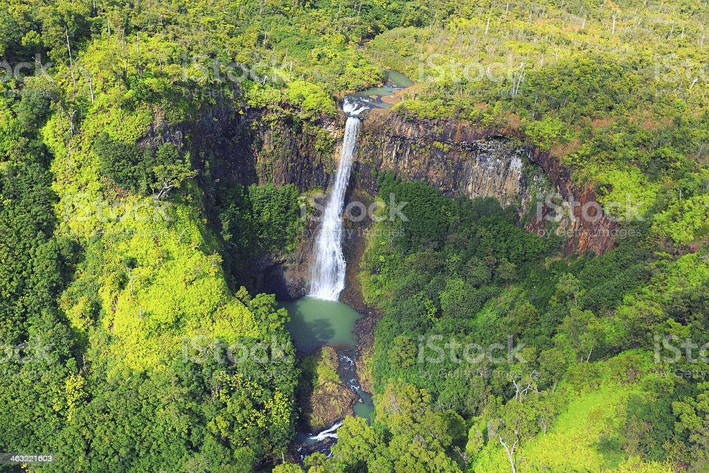Waterfall of Waimea Canyon State Park from above stock photo