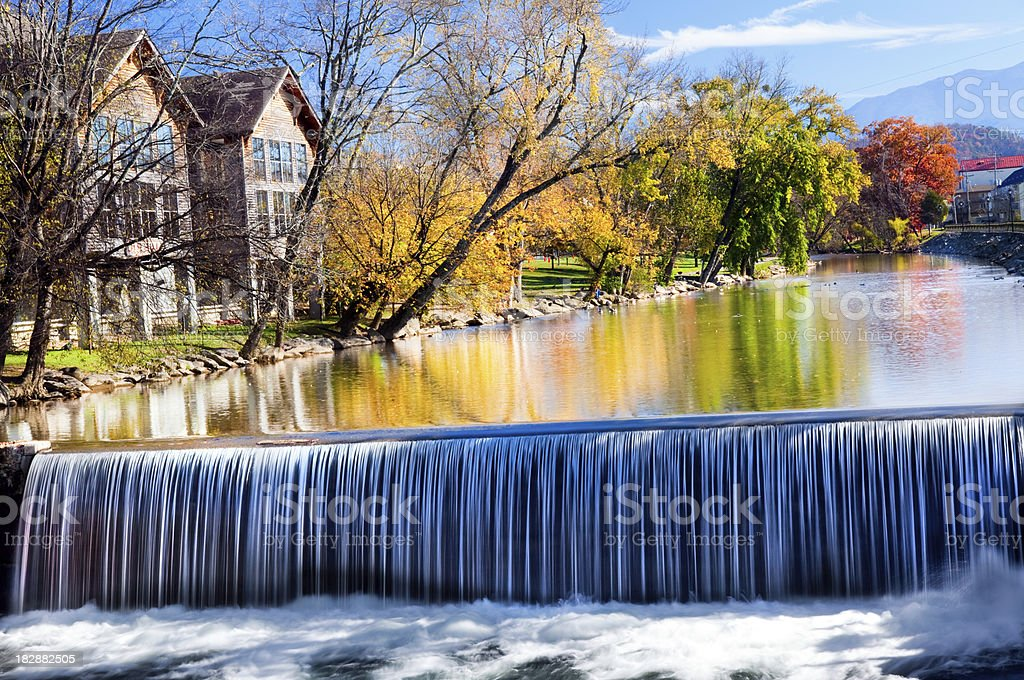 Waterfall old mill area Tennesee stock photo