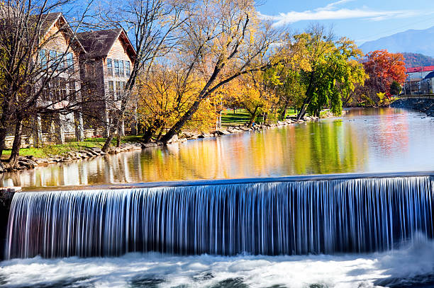 Waterfall old mill area Tennesee this is the Old Mill area of Tennessee in Pigeon Forge. Showing a beautiful waterfall in the commercial district.Click Here to view my other Cityscapes and Architecture: pigeon forge stock pictures, royalty-free photos & images