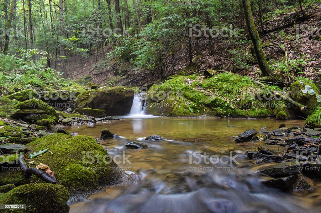 Waterfall on a Small Mountain Stream stock photo
