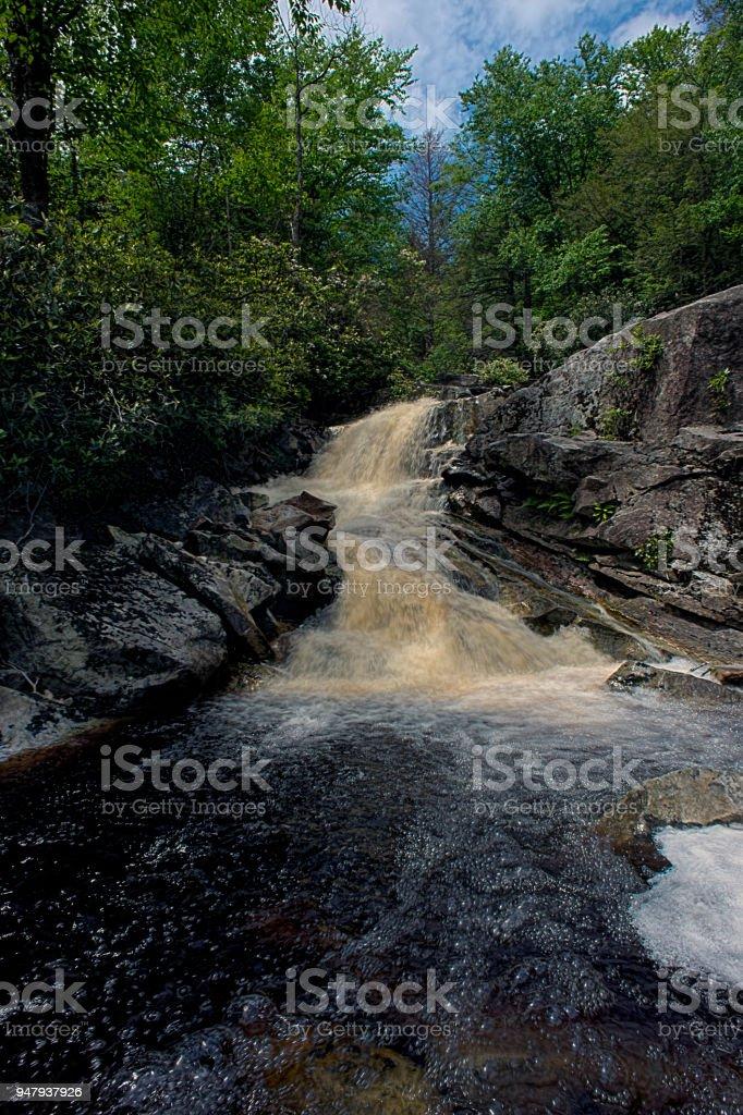 Waterfall on Big Run river stream stock photo
