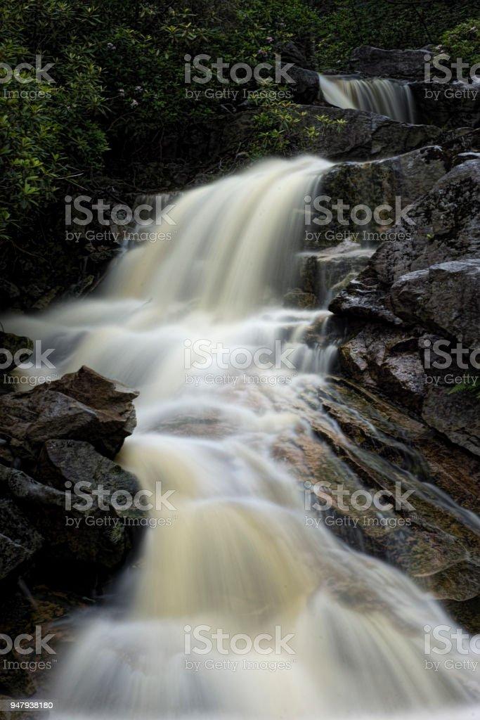 Waterfall on Big Run river stream West Virginia stock photo