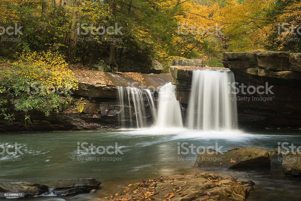 Waterfall on Deckers Creek near Masontown WV stock photo