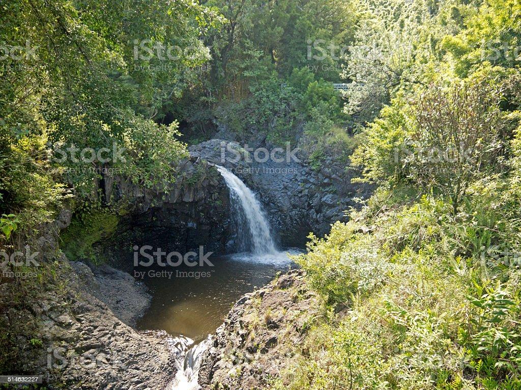 Waterfall on Hawaii stock photo