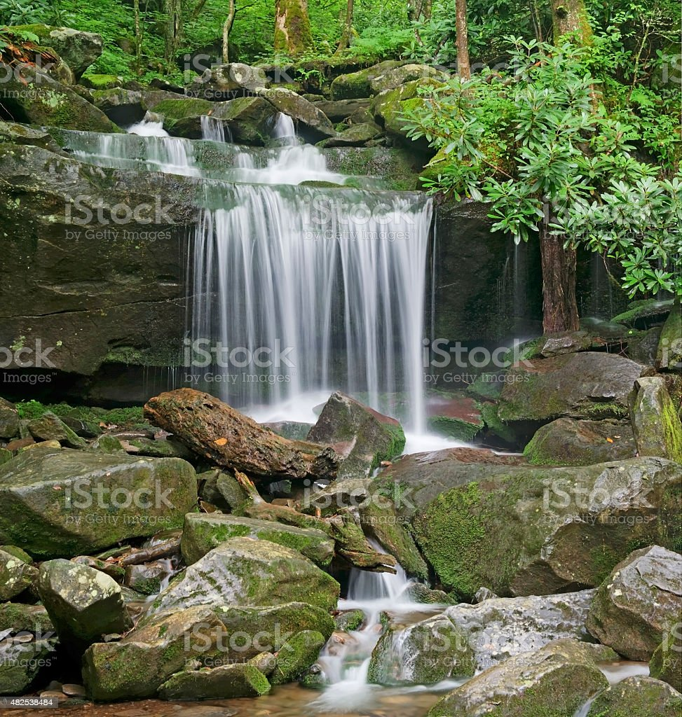 Waterfall on Rainbow Falls Trail, Great Smoky Mountains National Park stock photo
