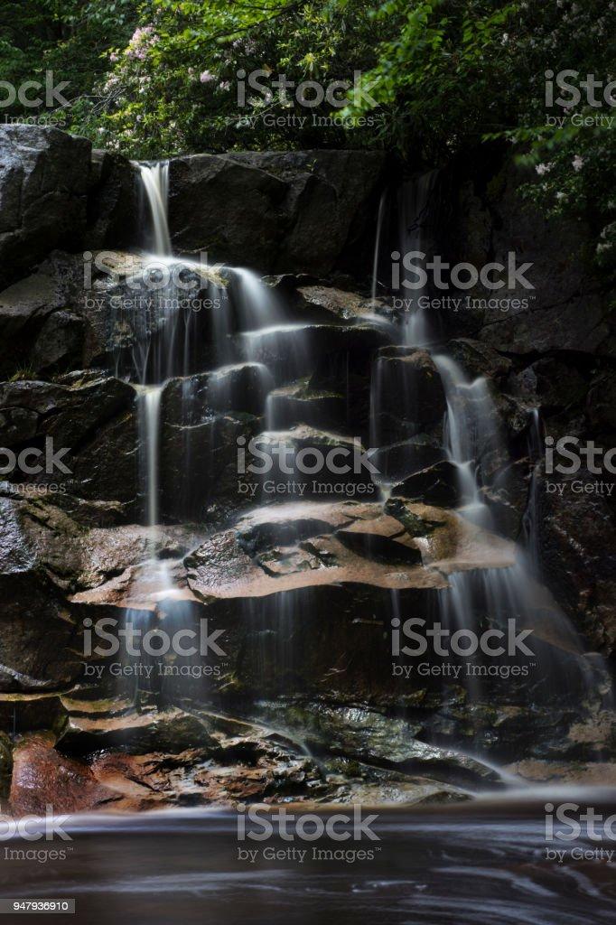 Waterfall on small stream stock photo