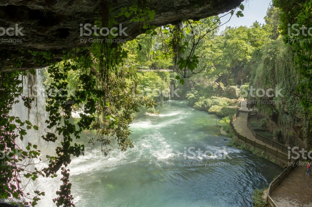 Waterfall on sunny day stock photo