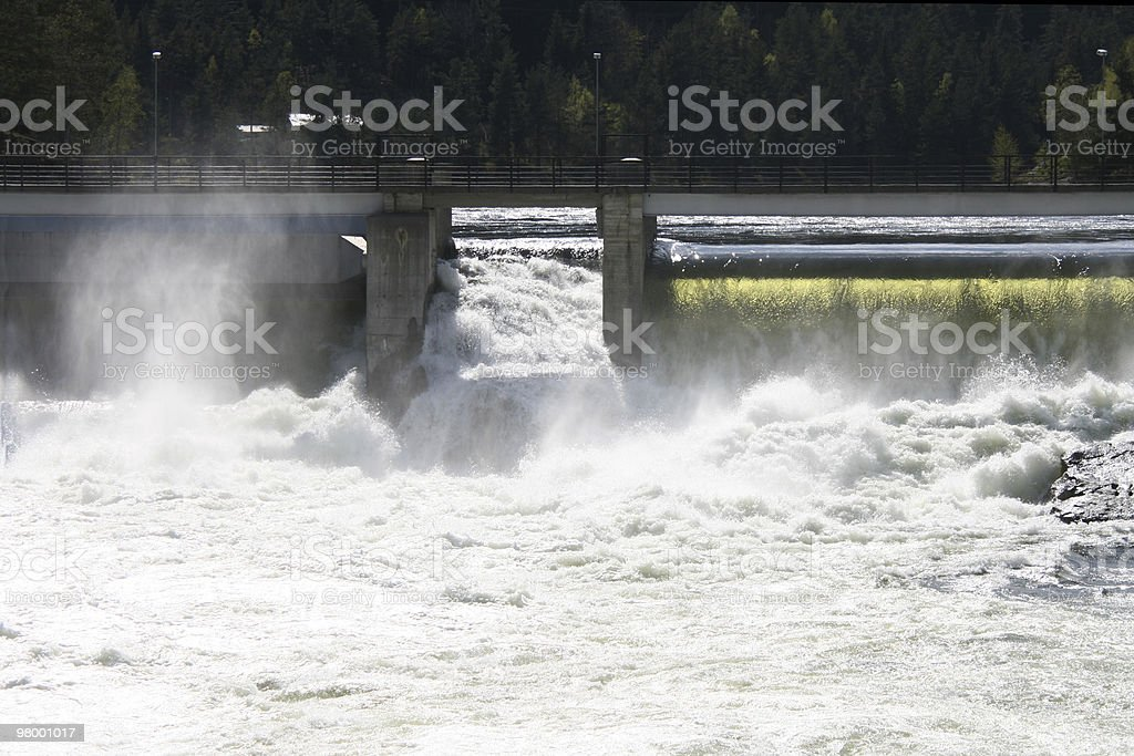 Waterfall on the dam royalty-free stock photo