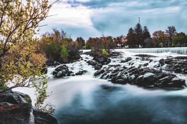 Waterfall on the Snake River at Idaho Falls, Idaho, USA. stock photo