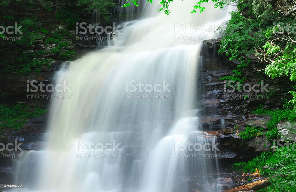 Waterfall Over The Mountain stock photo
