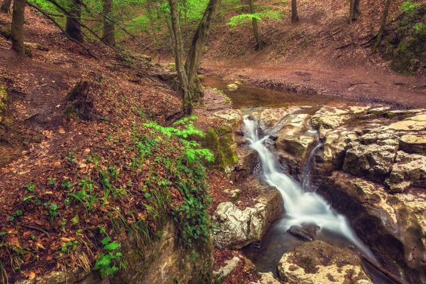 Waterfall photographed from above at long exposure stock photo