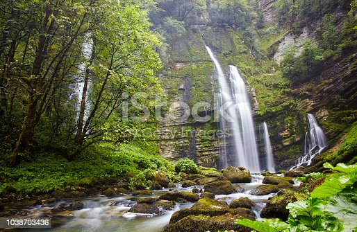 Waterfall in france, on a rainy day
