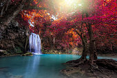 Beautiful natural. Waterfall in autum forest at Erawan waterfall National Park,Thailand