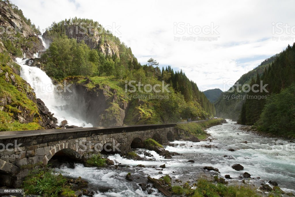 Waterfall, river and bridge in Norway стоковое фото