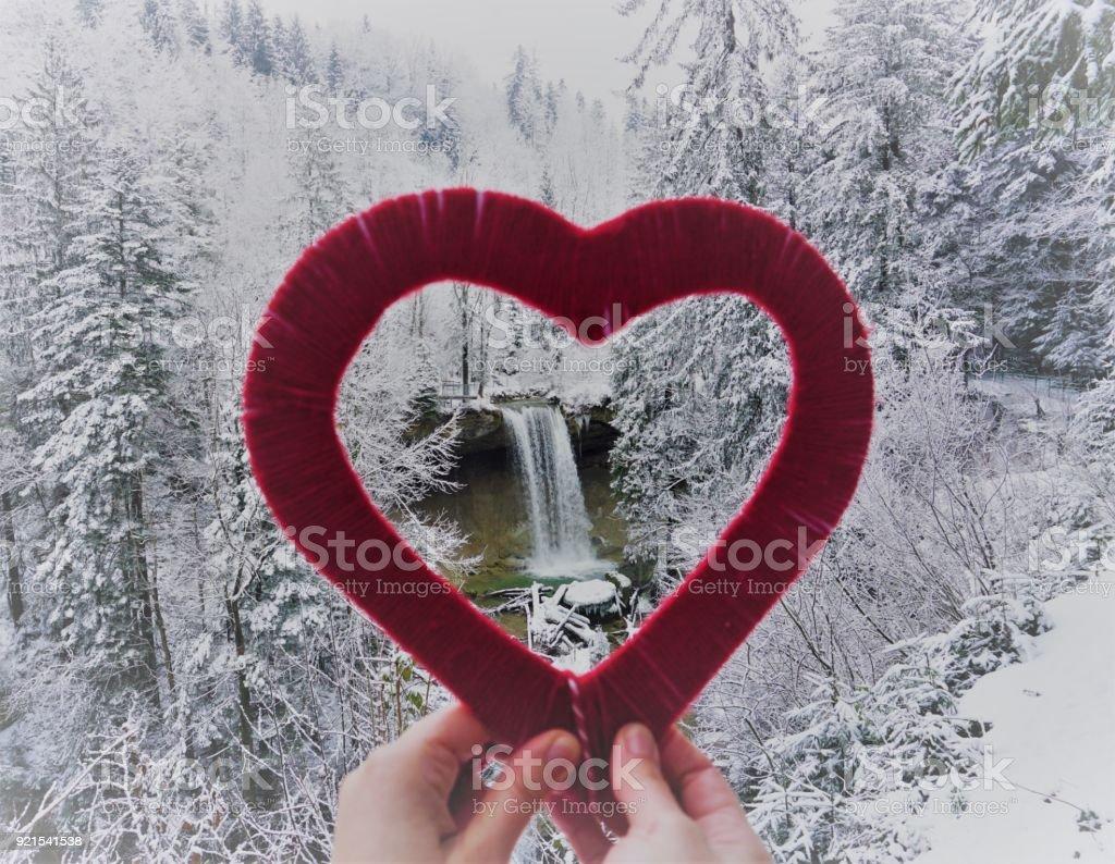 Waterfall Scheidegg Germany stock photo