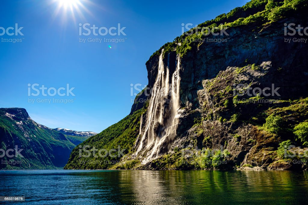 Waterfall Seven Sisters. stock photo