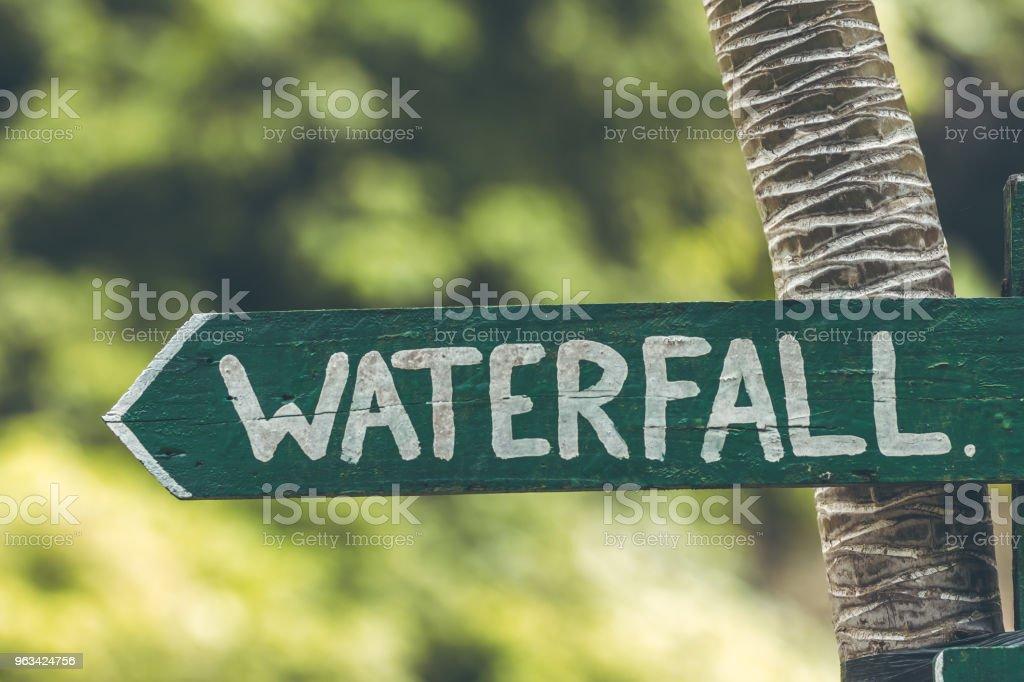 Waterfall sign in the jungle of Bali island - Zbiór zdjęć royalty-free (Brązowy)